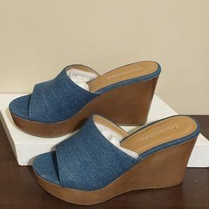 Blue Denim Wedges